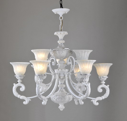 Discount 9-Light White Metal Chandeliers with Antique Effect