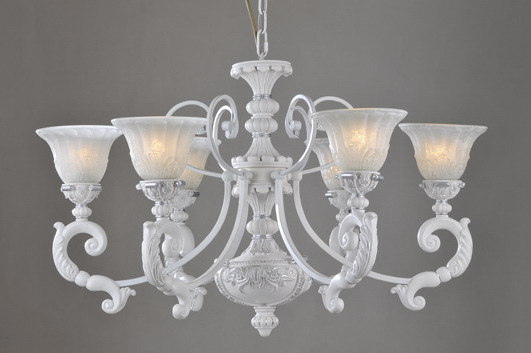 Outlet 6-Light White with Silver Iron Traditioanl European Chandeliers