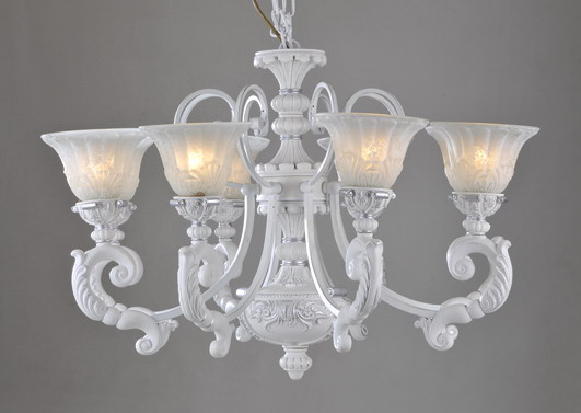 Elegant 8-Light White Brushed Silver Iron Vintage Chandeliers