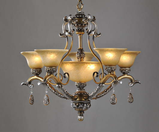Prosperous 8-Light Rust Metal Antique Chandeliers with Resin Pendant