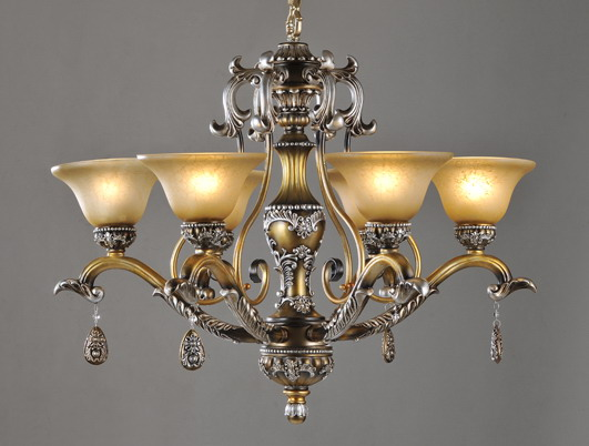 6-Light Bronze Rust Antique Chandeliers with Resin Pendant