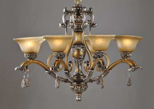 Outlet 8-Light Bronze Rust Metal Chandeliers with Resin Pendant