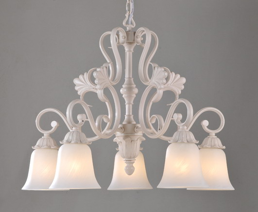 Discount 5-Light White Metal Antique chandeliers with Frost Glass Lamp Cover