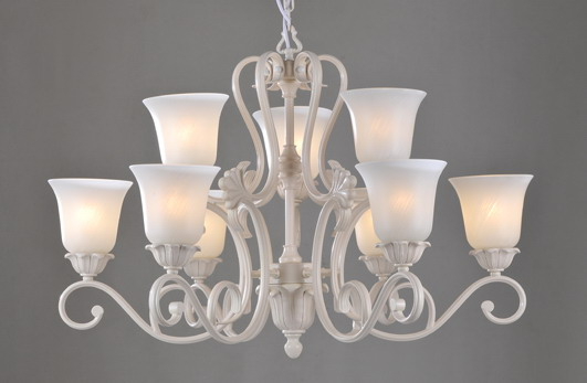 Best 9-Light White Metal Antique Chandeliers with Frost Glass Lamp Cover