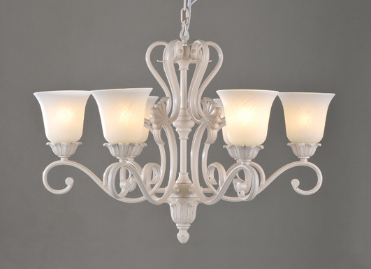 Perfect 6-Light White Metal European Chandeliers with Frost Glass Lamp Cover