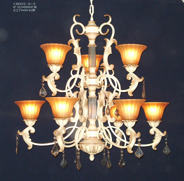 Delicate 9-Light Rust Metal Antique Chandeliers with K9 Crystal Pendant