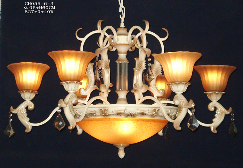 First Class 9-Light Rust Antique Chandeliers with Amber Glass Lamp Cover