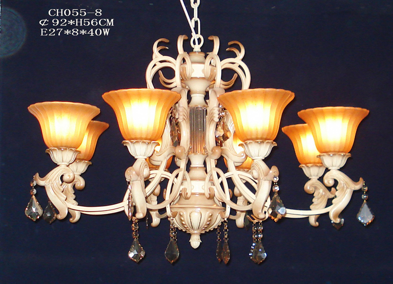8-Light Amber Glass Cover Metal Antique Chandeliers with K9 Crystal Pendant