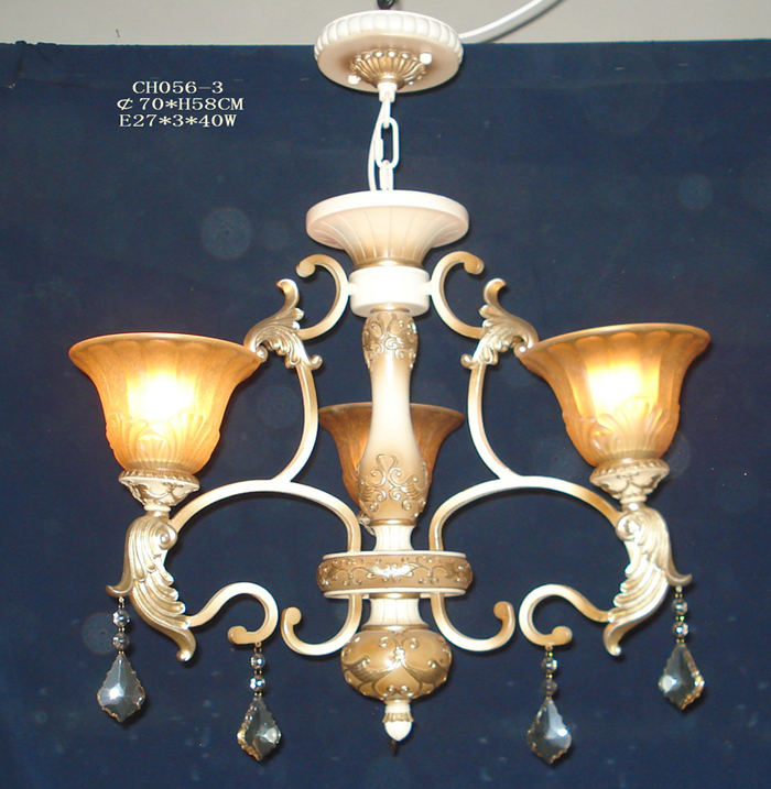Delicate 3-Light Amber Glass Cover Rust Metal Antique Chandeliers with K9 Crystal Pendant