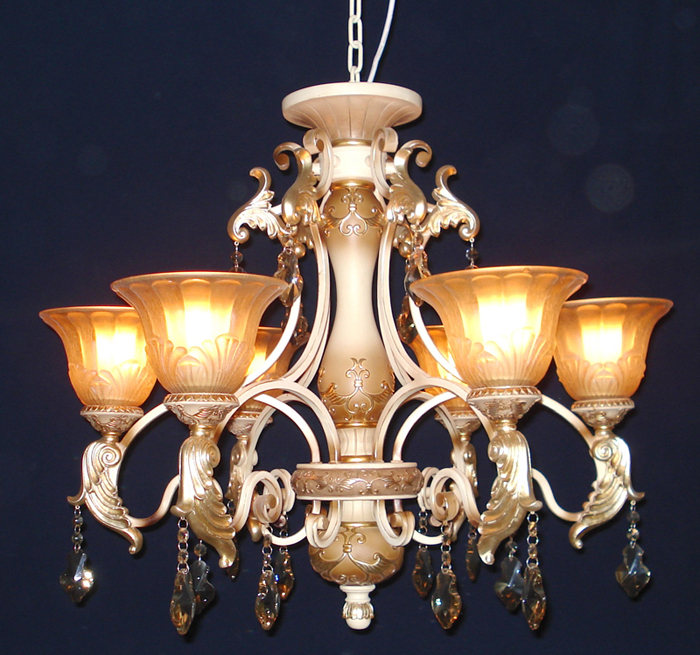 Outlet 6-Light Rust Antique Chandeliers with Amber Glass Cover and K9 Crystal Pendant