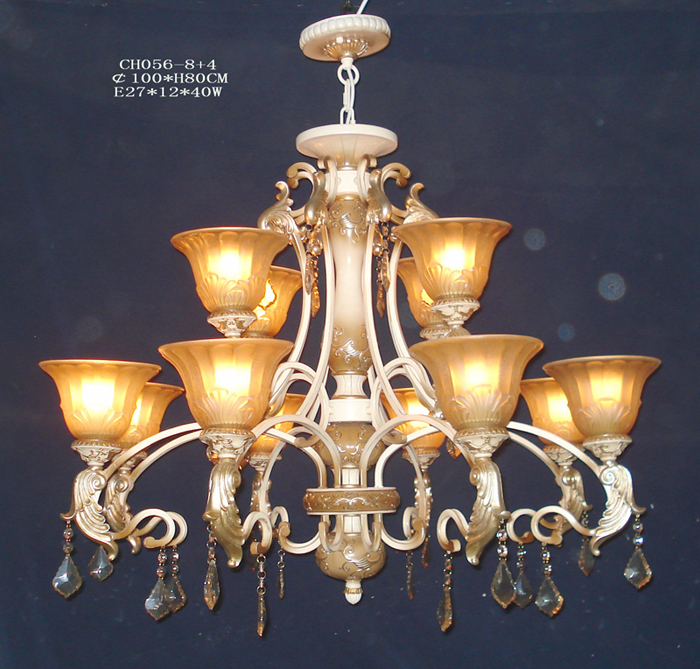 High Quality 12-Light Antique Chandeliers with Crystal Pendant