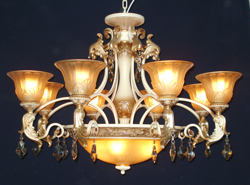 Best 11-Light Amber Glass Lamp Cover Rust Metal Chandeliers