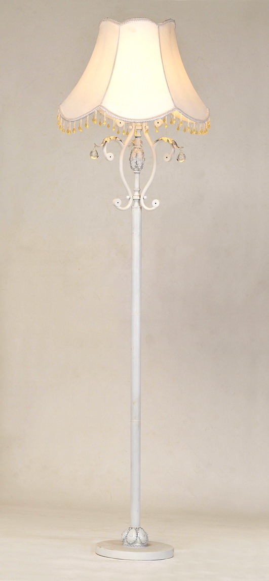 White Cloth Art with Glass Pendant Cover Metal Traditional Floor Lamps