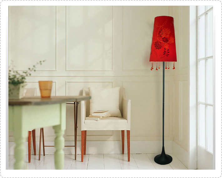 Red Floria Red Glass Floor Lamps, Modern Floor Lamp