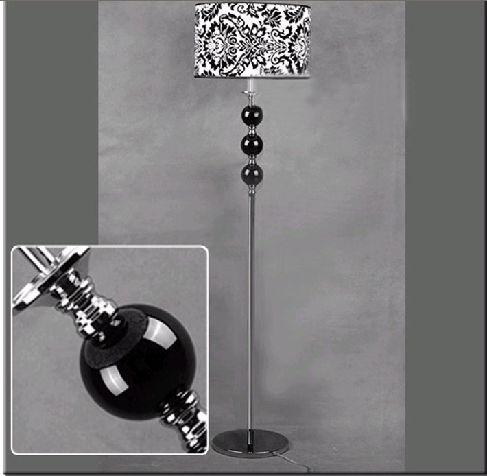 Antique Floral Printed Floor Lamp, Black and White Printing Floor Lamp