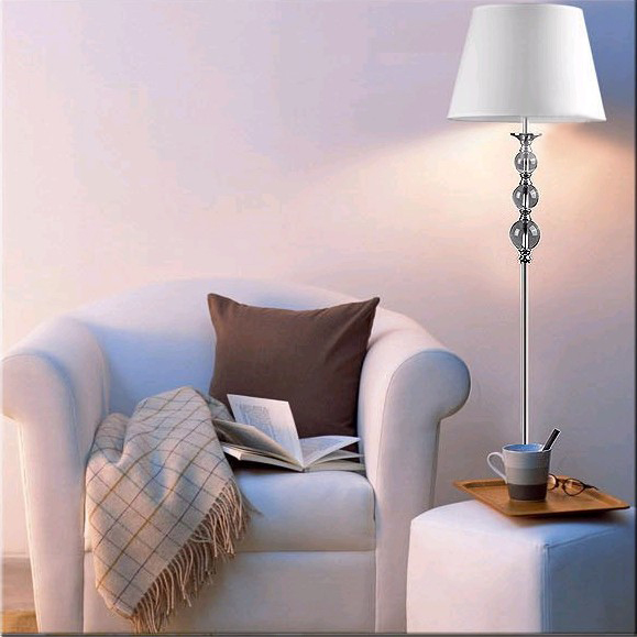 Classy Contemporary White Floor Lamp with Clear Glasses