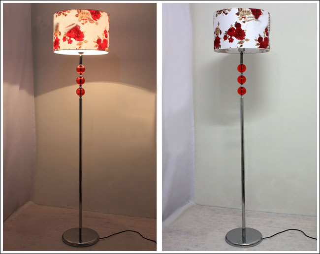 Romantic Art Printed Red Glass Floor Lamp Chrome