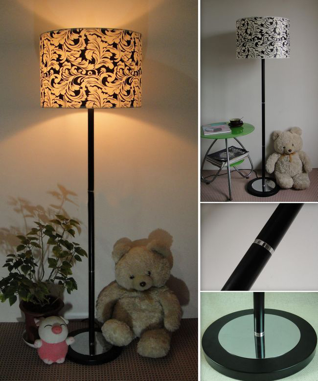Outlet Retro White and Black Floral Printed Adjustable Floor Lamp