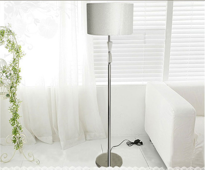 Contemporary Silver Transparent Crystal Chrome Floor Lamps