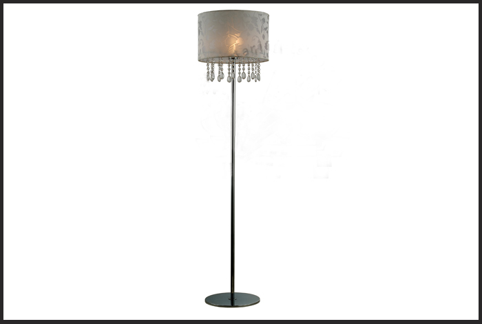 Vintage White Floral Floor Lamp with Exquisite Crystals