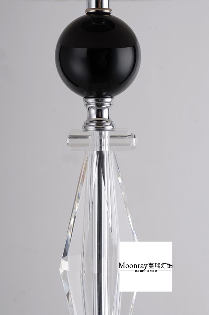 Clssical Modern White Floor Lamp With Black Crystal Ball