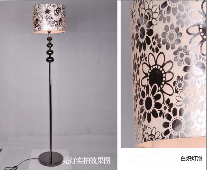 Outlet Modern Art Printed Black Multisided Crystal Pearl Black Floor Lamp