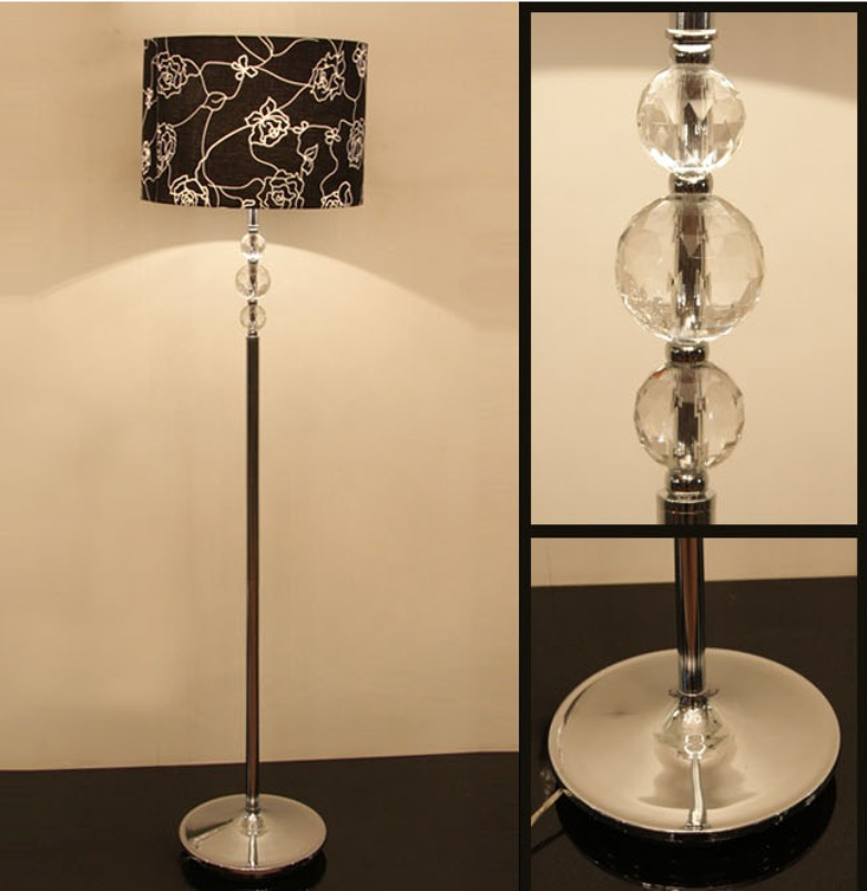 Black art printed three clear glass ball modern floor lamps