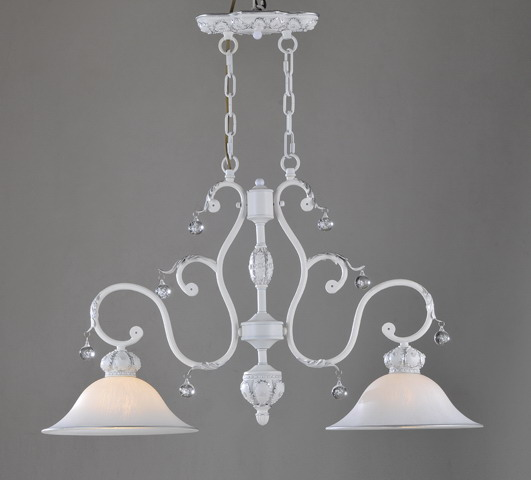 2-Light White Metal Kitchen Chandeliers with Clear Crystals