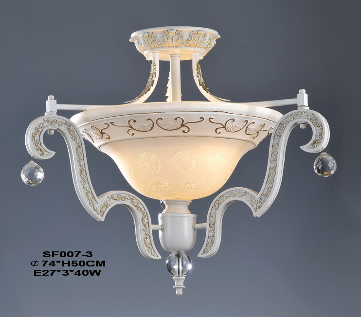 3-Light White with Gold European Kitchen Chandeliers