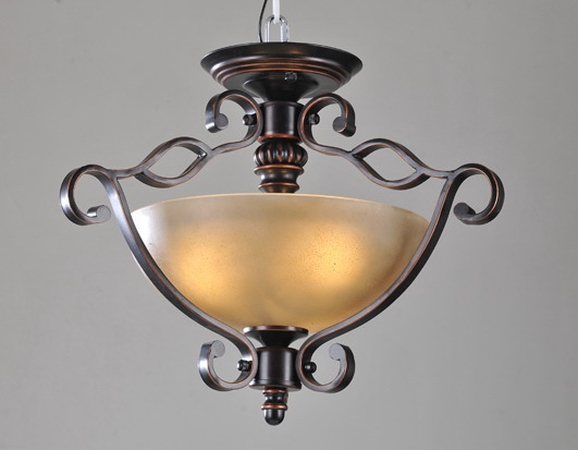 Exquisite 3-Light Antique Copper Kitchen Chandeliers