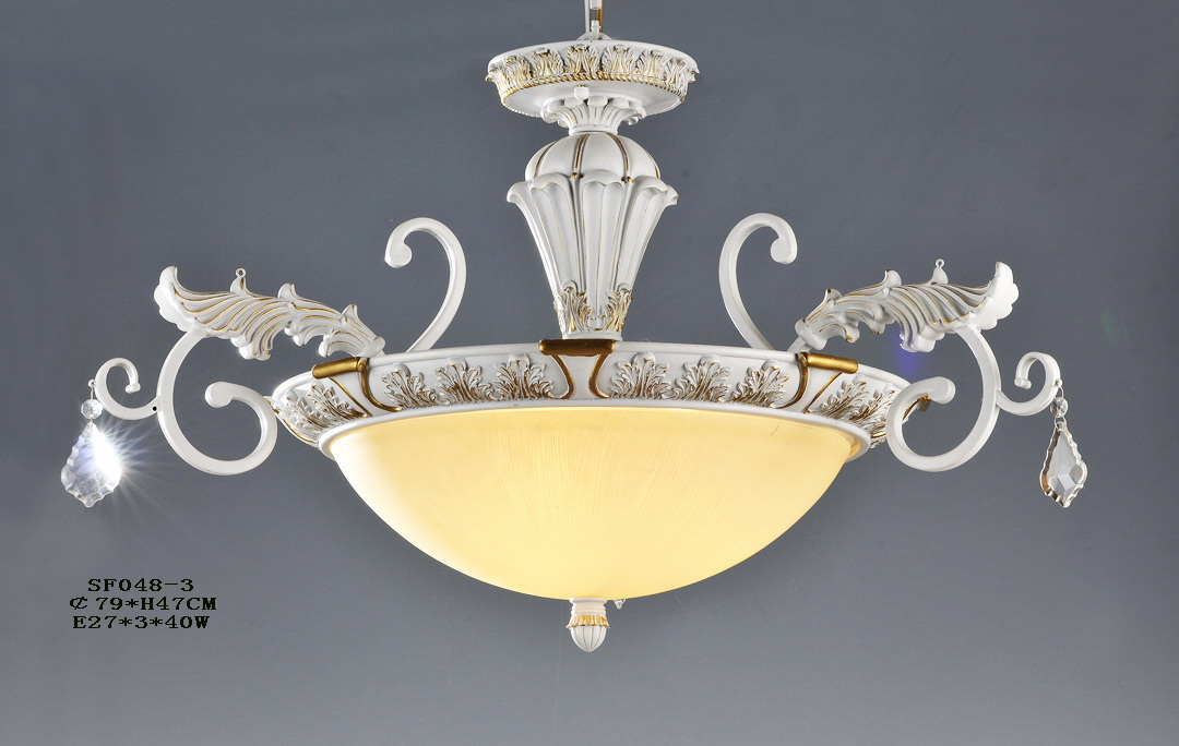 3-Light White with Gold Modern European Kitchen Light with Clear Crystal