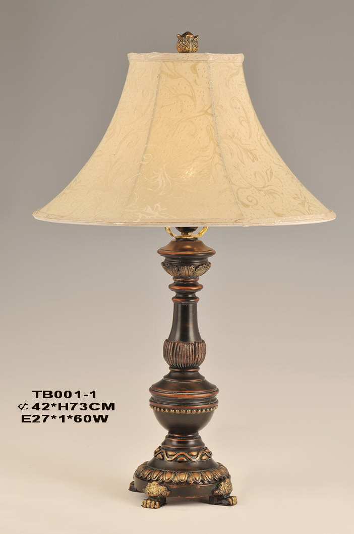 Printed Cloth Art Cover Antique Bronze European Table Lamp