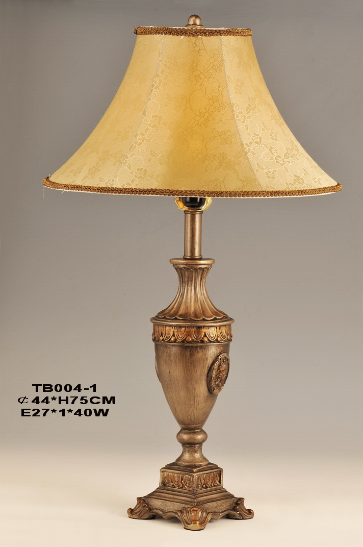 Amber Cloth Art Cover Antique Brass European Table Lamps