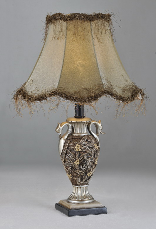 Palm Tree Cloth Art Cover Bronze Artistic Table Lamps