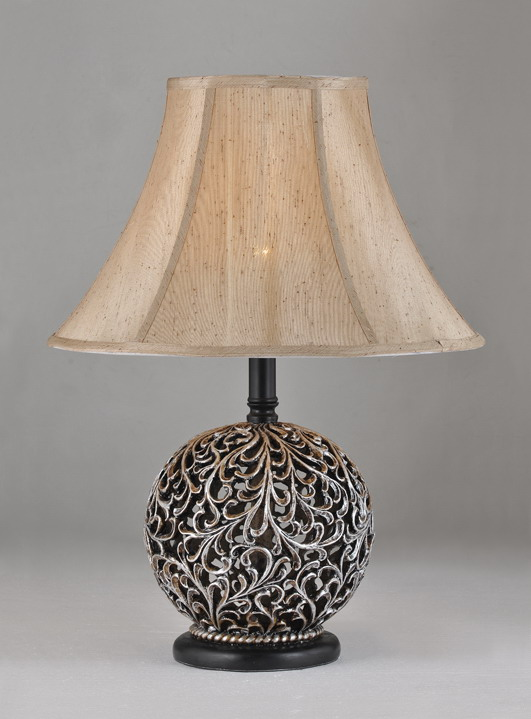 Printed Cloth Art Cover Ball Shape Metal Body Antique Table Lamps