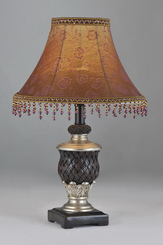 Floral Printed Cloth Art Cover with Glass Pendant Antique Table Lamps