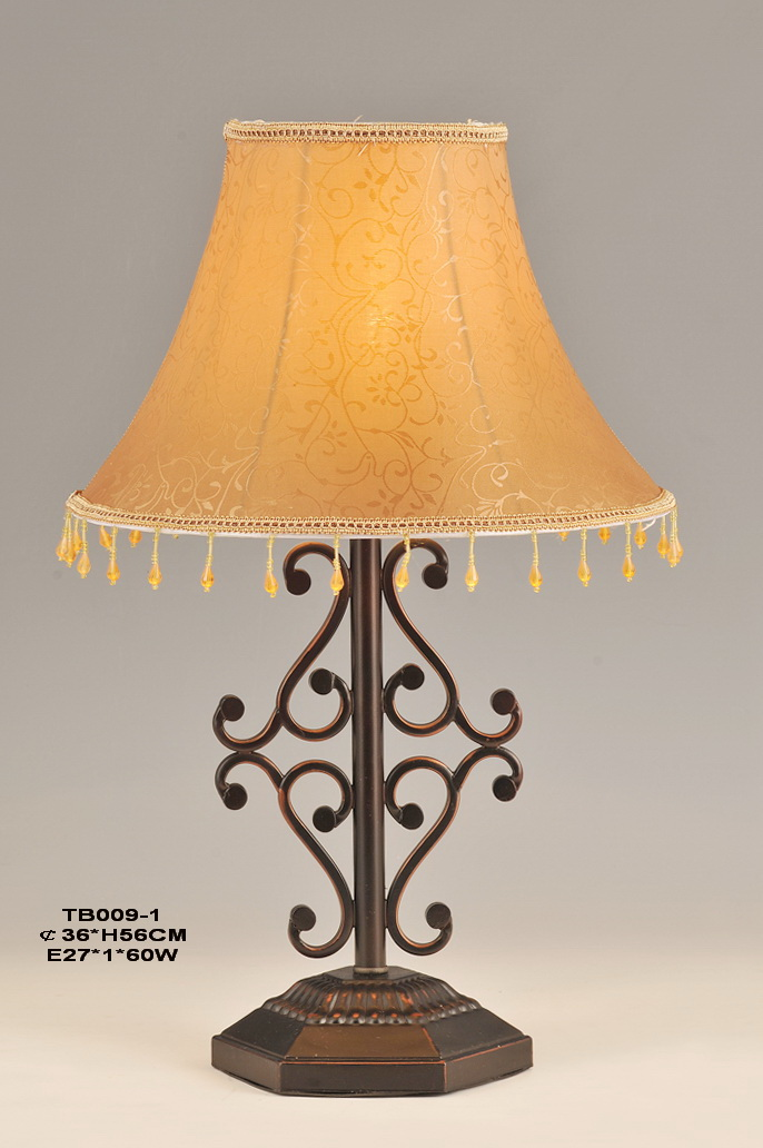 Typical European Table Lamps with Amber Printed Cloth Art Cover and Bronze Metal Body