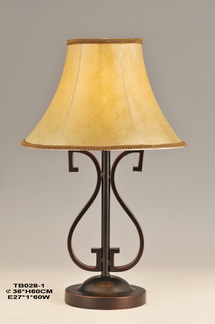 Floral Cloth Art Cover Bronze Metal Antique Table Lamps