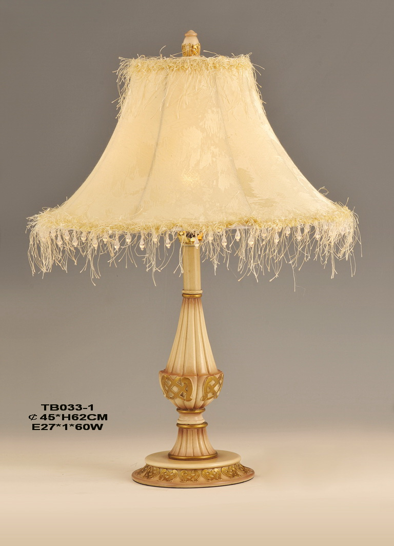Classical Cloth Art Cover Antique Bronzed Treated European Table Lamps
