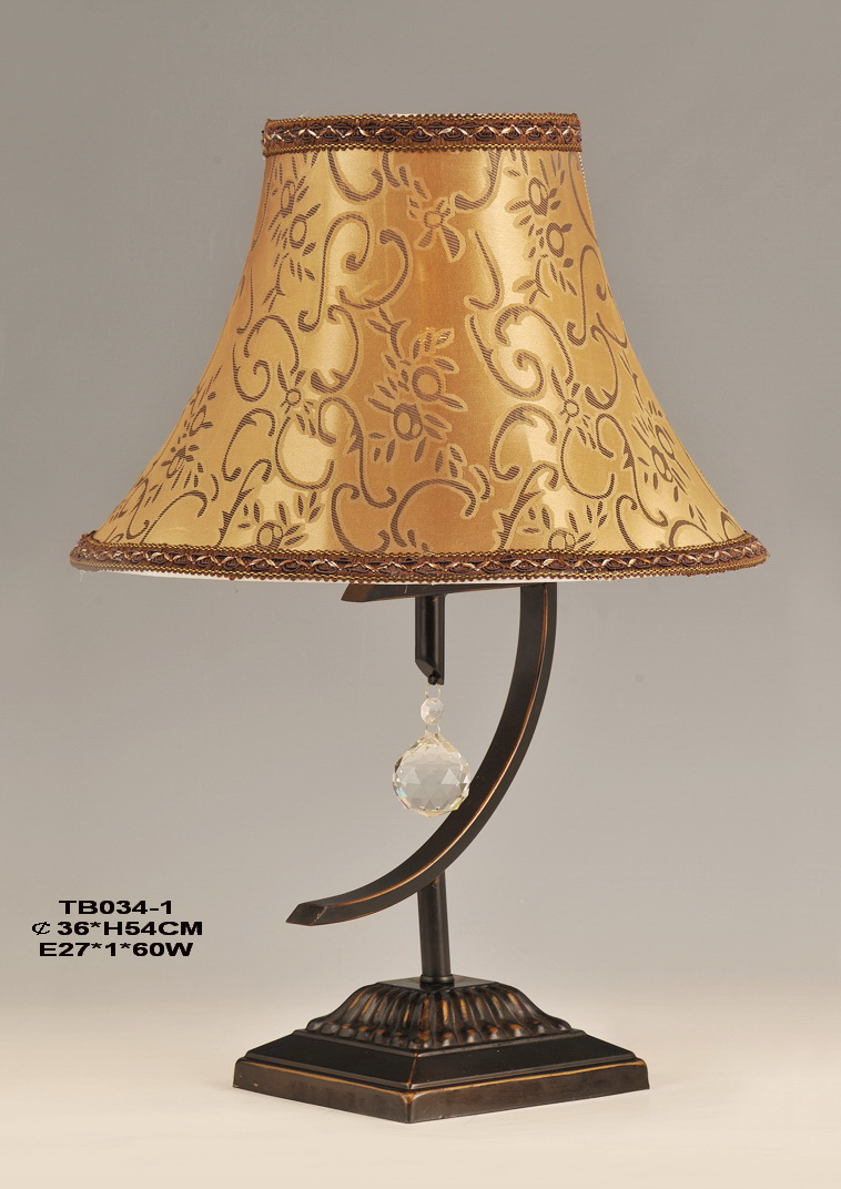 Amber Floral Printed Cloth Art Bronze Metal Antique Table Lamps with Crystal Pendant