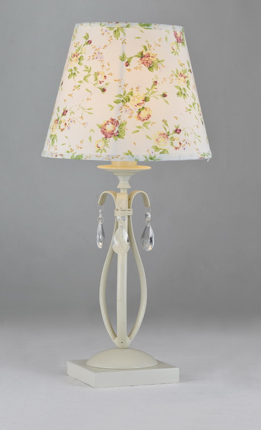 Colorful Printed Cloth Art Cover Offwhite Metal Table Lamps