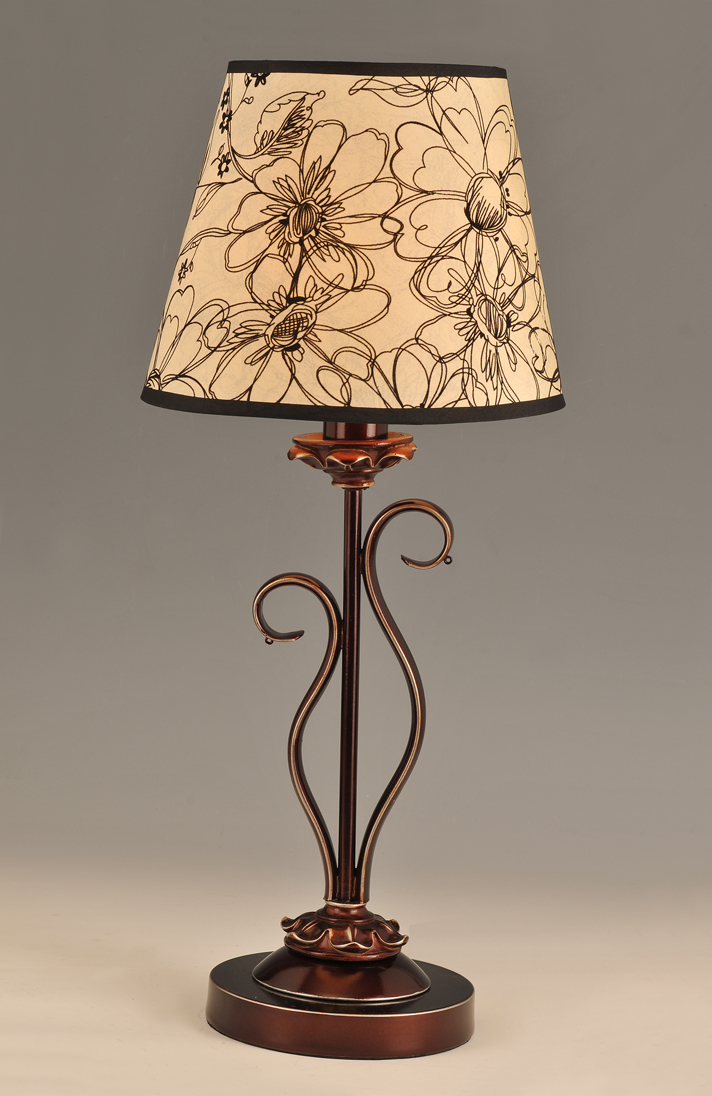 Floral Printed Cloth Art Cover Copper Metal Body Modern Table Lamps