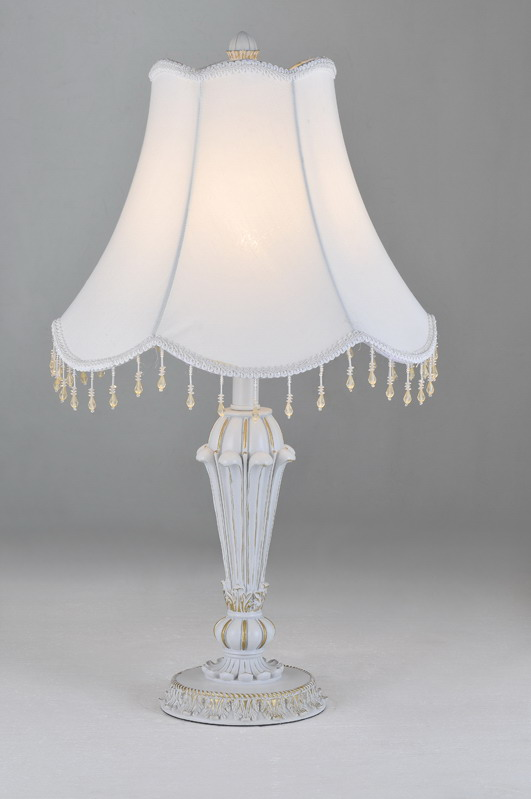 Outlet White with Gold Cloth Art Cover Resin Body Contemporary Table Lamps