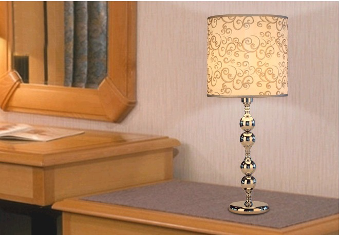 Golden Printed Table Lamps with Ball Decoration