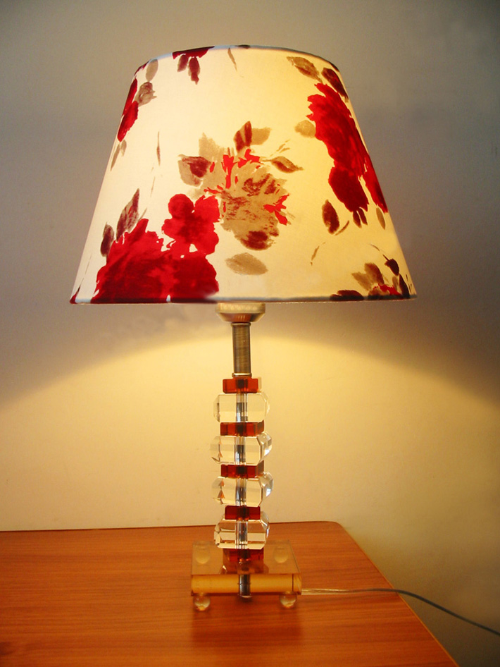 Colorful Art Printed K9 Crystal Antique Table Lamps