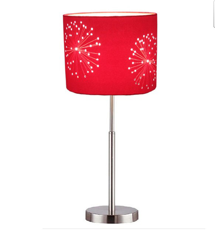 Fresh Red Floral Printed Adjustable Table Lamp