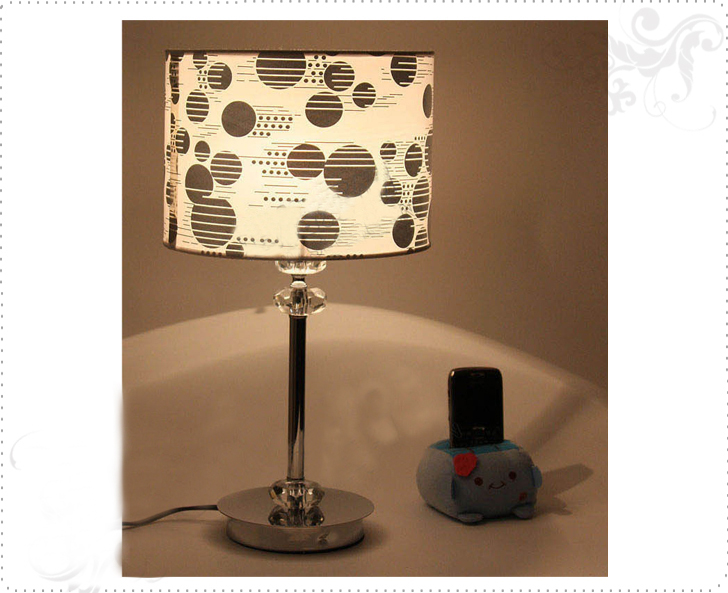 Classy Art Printed Three Crystal Balls Chrome Table Lamps