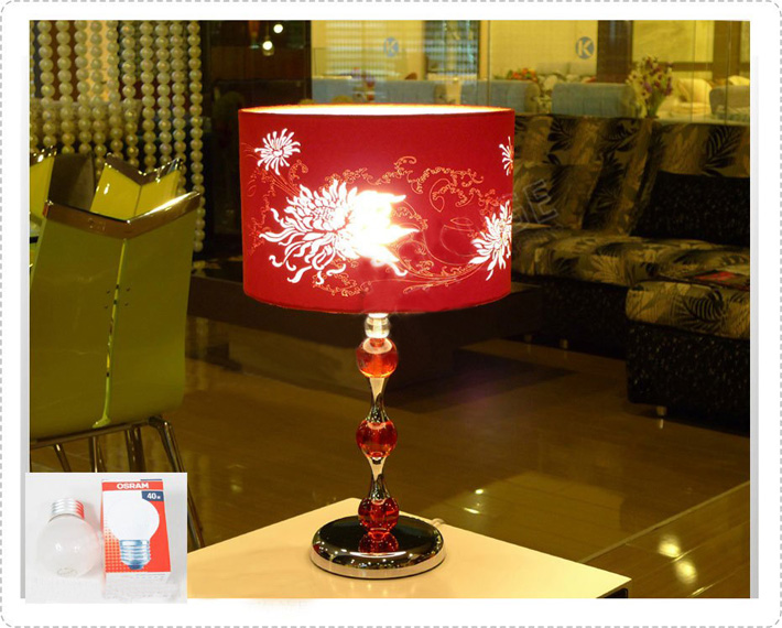 Classical Modern Red Floral Printed Living Room Table Lamp