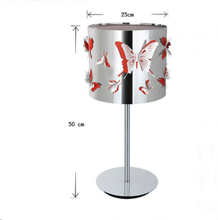 Exquisite Butterfly Stainless Steel Living Room Table Lamps