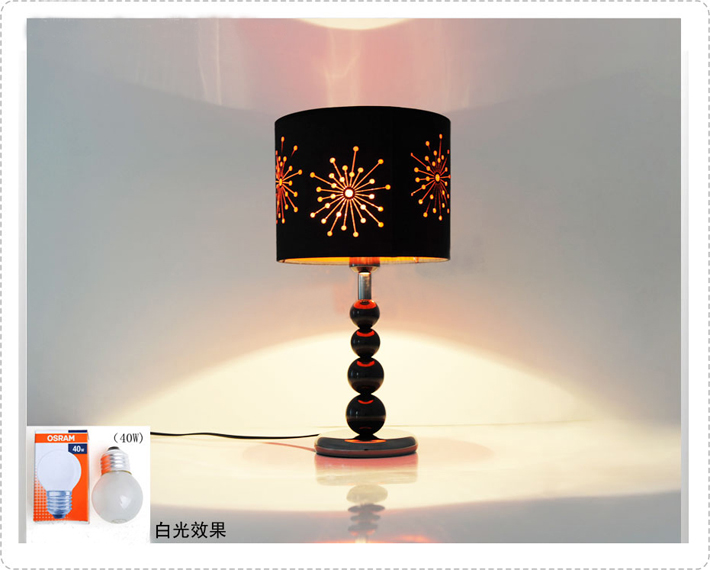 Black Etched Cloth Black Acrylic Balls LED Table Lamps